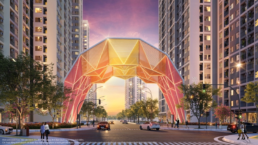 Dẫn lối cư dân đến chốn an cư là Cổng chào biểu tượng Origami lấy cảm hứng từ những nét gấp giấy kì công, đại diện cho sự may mắn và hạnh phúc