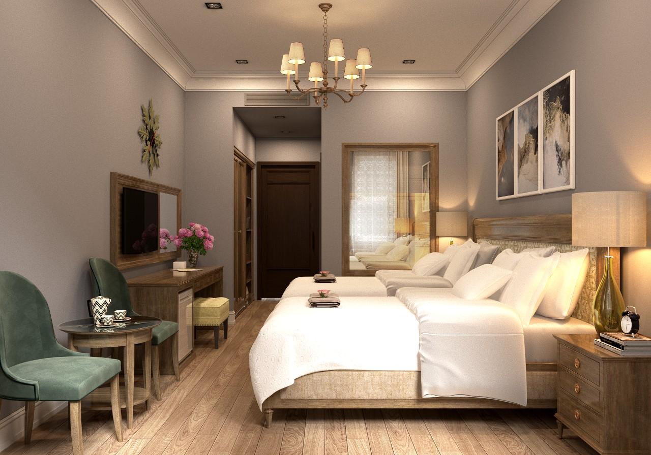 Cửa gỗ Eurowindow góp phần làm nên vẻ ấm cúng bên trong khách sạn Dalat Marigold (Đà Lạt)