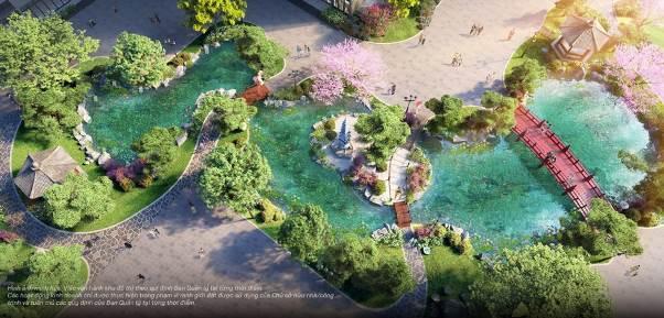 Cầu gỗ đỏ, tháp đá, hồ cá Koi, tùng La Hán… - tất cả những biểu tượng đặc trưng xứ Phù Tang được hội tụ tại vườn Nhật The Zenpark