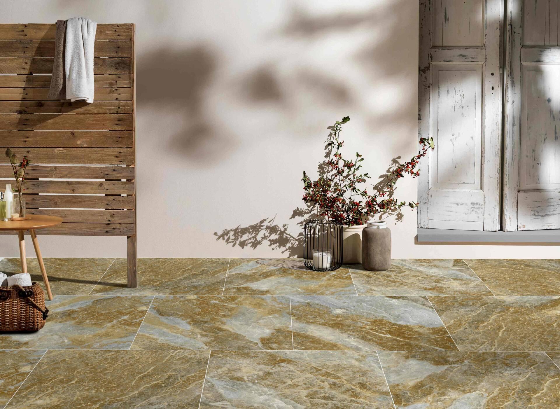 Gạch men khô vân đá vàng làm nổi bật vẻ đẹp đơn giản tinh tế của không gian