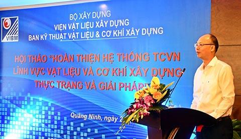 GS.TS. Lê Trung Thành, Viện trưởng VIBM Trưởng Ban Kỹ thuật vật liệu và cơ khí xây dựng phát biểu tuyên bố lý do và khai mạc Hội thảo
