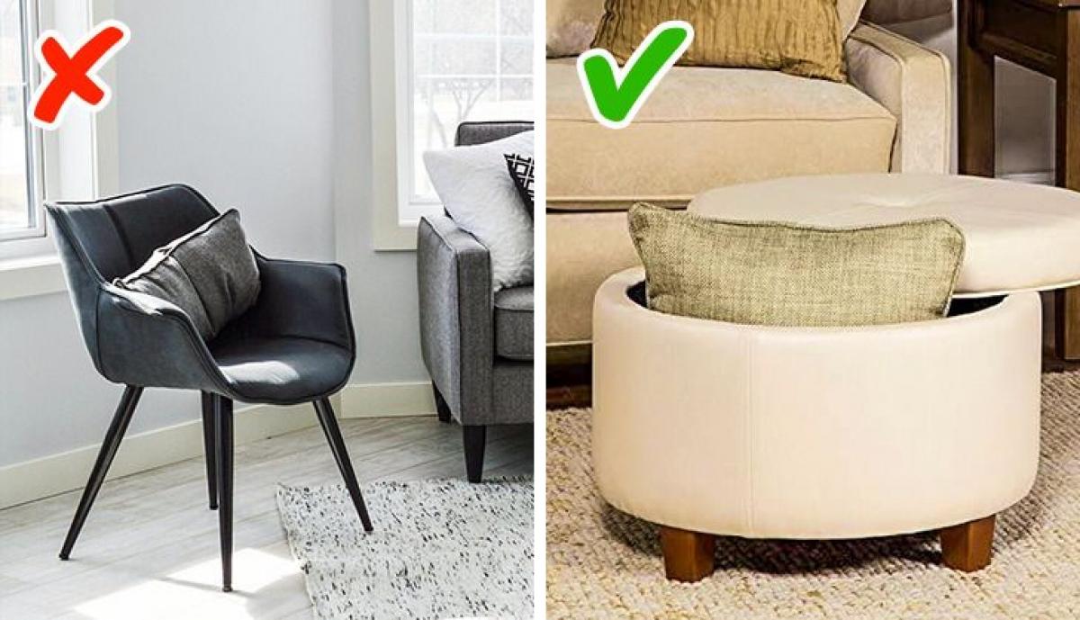 Sử dụng ghế đôn nhỏ có chức năng lưu trữ thay vì các loại ghế thông thường