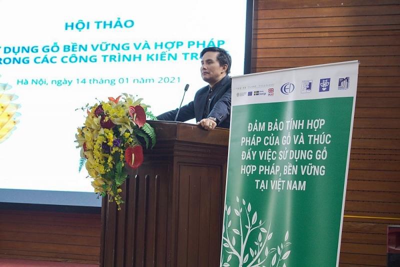 PGS.TS.KTS Lê Quân - Hiệu trưởng trường Đại học Kiến Trúc Hà Nội phát biểu khai mạc Hội thảo
