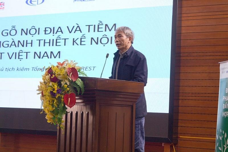 Ông Ngô Sỹ Hoài - Phó Chủ tịch kiêm Tổng thư ký Hiệp hội Gỗ và Lâm sản Việt Nam (VIFORES) phát biểu tại tọa đàm
