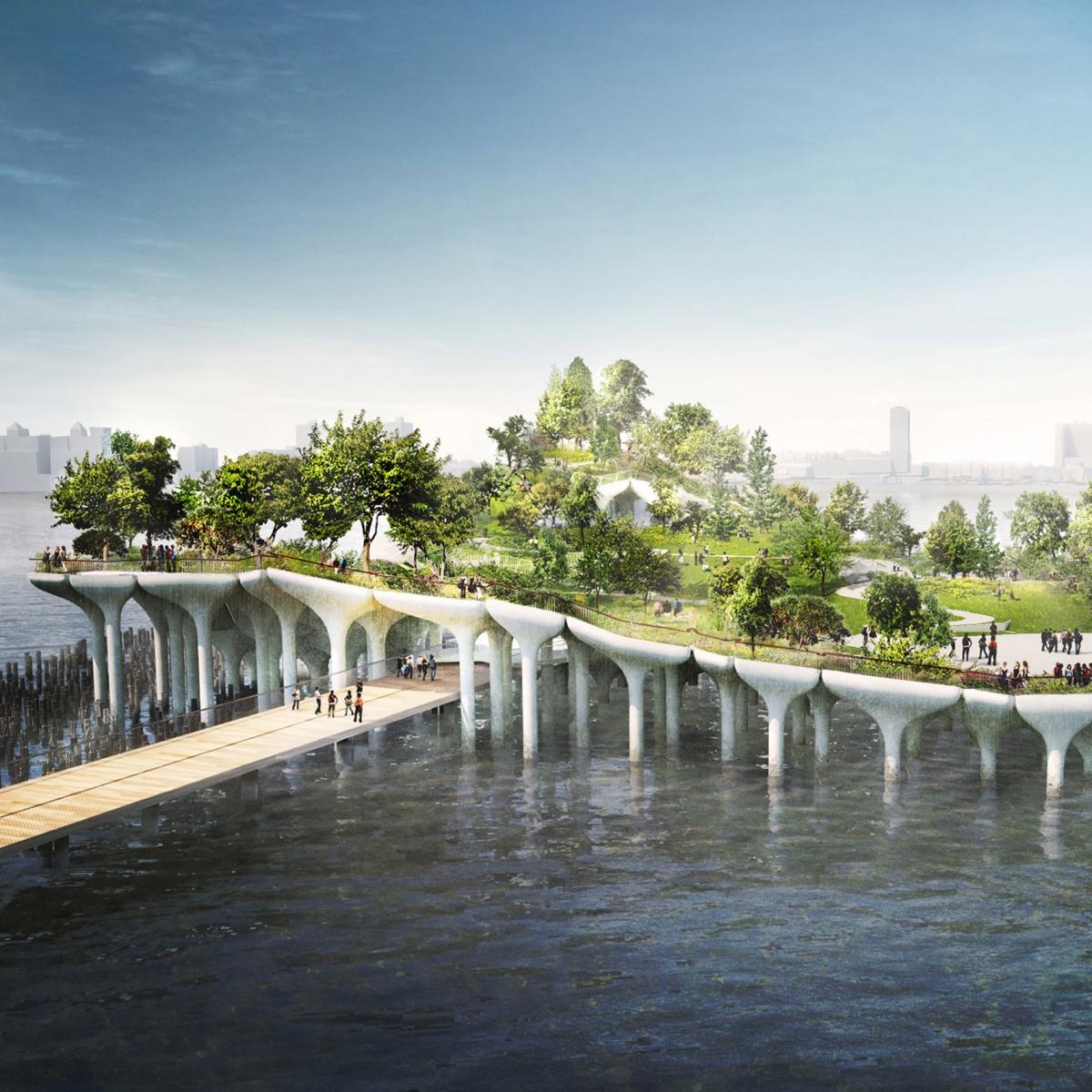 Đảo Little ở Mỹ của kiến trúc sư Heatherwick Studio sẽ được hoàn thành vào năm 2021. Dự án bao gồm 132 cột hình nấm được trồng thật nhiều cây cối xanh mát, phục vụ cho các sự kiện cộng đồng.