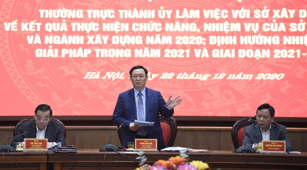 Bí thư Thành ủy Hà Nội Vương Đình Huệ phát biểu kết luận tại buổi làm việc với Sở Xây dựng ngày 22/12/2020