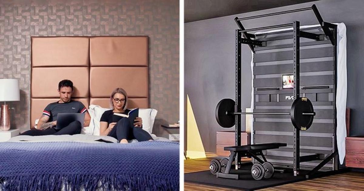 Nếu ngôi nhà bạn nhỏ, chật và bạn thì yêu thể dục thể thao, hãy thiết kế chiếc giường của bạn tích hợp một số thiết bị dùng để tập gym