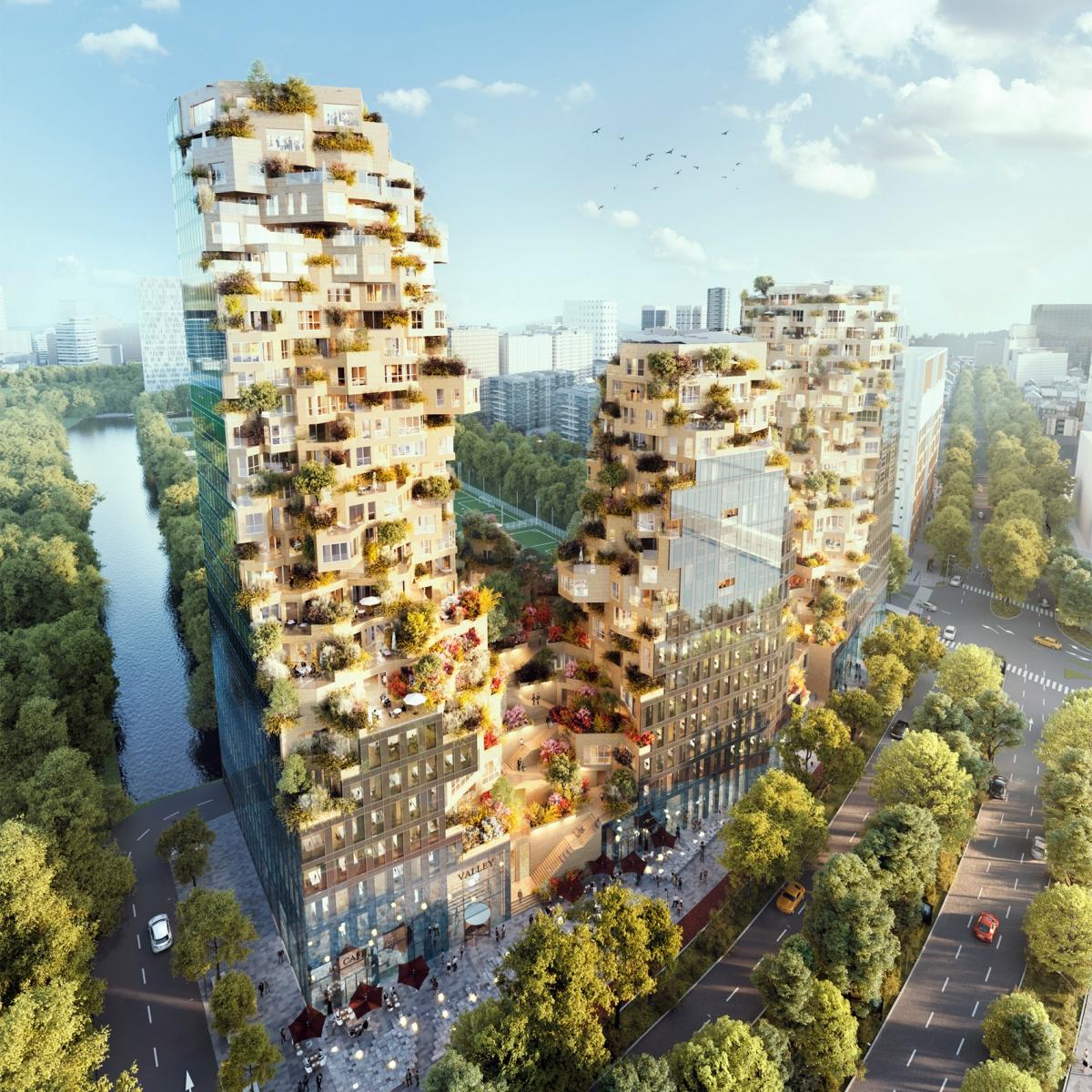 MVRDV lần đầu tiên công bố thiết kế tòa nhà cao tầng hỗn hợp ở Rotterdam vào năm 2015 và cuối cùng nó sẽ đi vào hoạt động năm 2021. Được đặt tên là Thung lũng, công trình bao gồm ba đỉnh núi, mỗi đỉnh đều có cây xanh và cửa sổ góc nhô ra từ mọi góc độ.