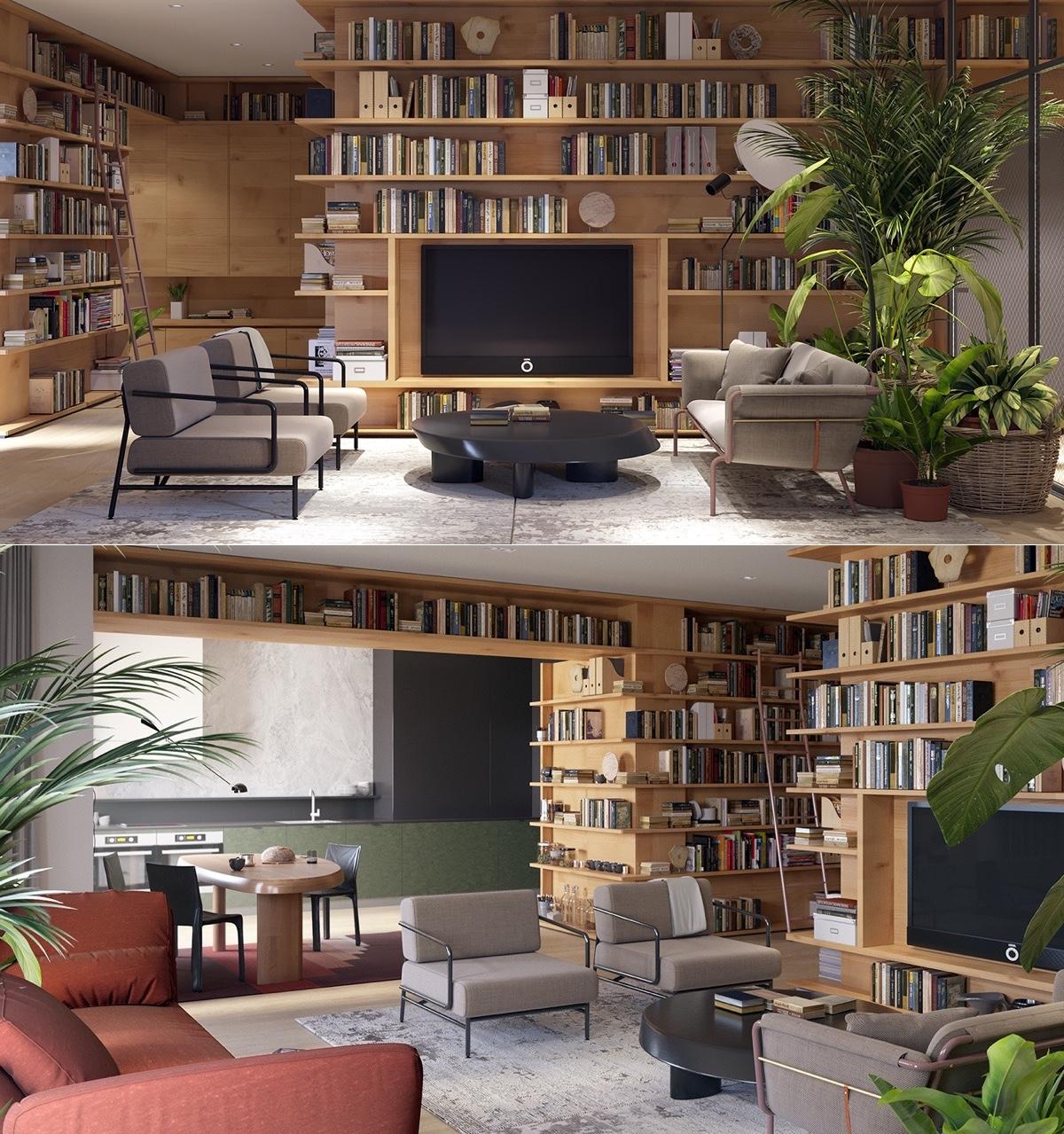 Bạn có thể tạo ra một ô trống để treo TV, đừng quên đặt một chiếu cầu thang để với những giá sách cao