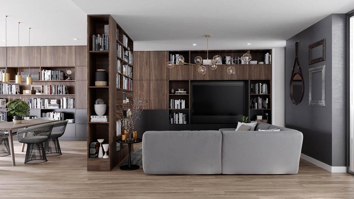 Một tủ sách cũng có thể tạo ra một bức tường ngăn phòng