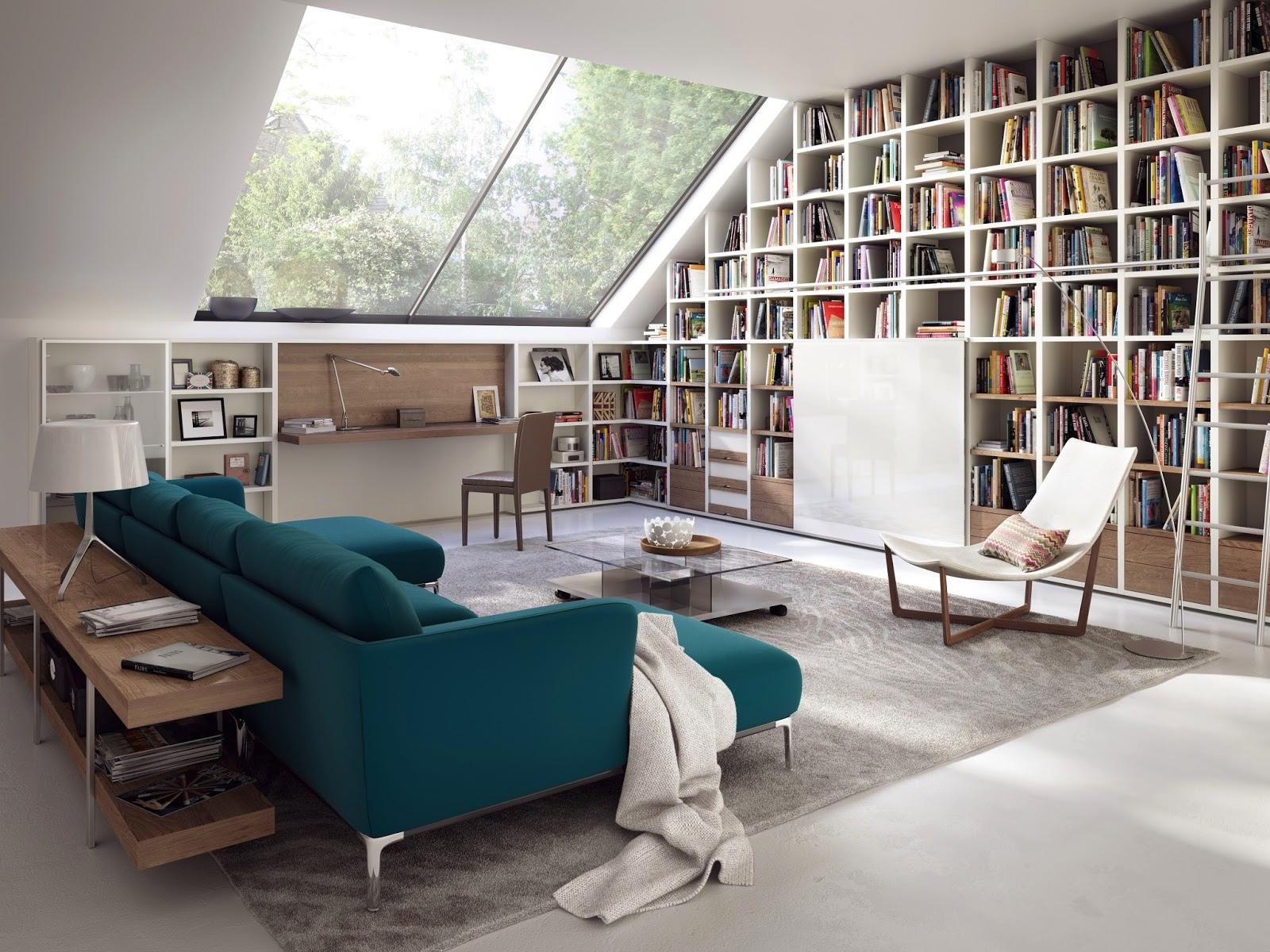 Một tủ sách đặt làm riêng có thể được tích hợp ngay trên mái hiên, một lựa chọn tuyệt vời nếu bạn đang sống dưới trần nhà dốc