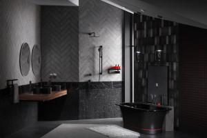 """Thiết kế phòng tắm """"cá tính"""" với  sự kết hợp những gam màu nổi bật"""