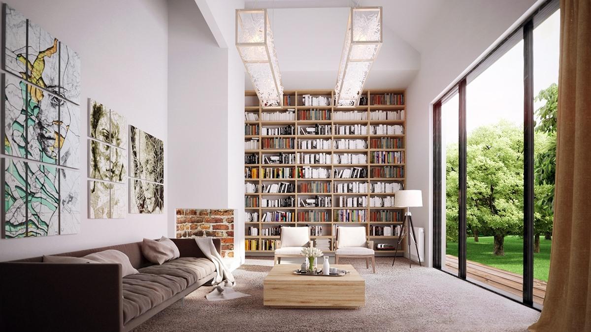 Tủ sách cao chót vót này mang đến chiều sâu, sự thú vị và ấm áp tuyệt vời cho một căn phòng dài nhạt màu, ạo ra một bức tường tuyệt đẹp