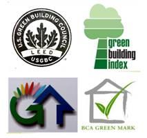Mô hình CTX của USGBC và Chứng chỉ CTX (phải) của LEED (USGBC),  GB Index (Malaysia), GB label (Đài Loan) và GB Mark (Singapore)