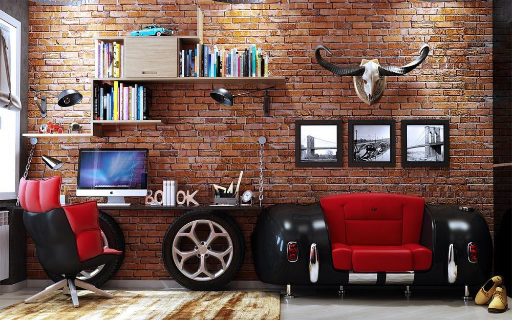 Phòng làm việc tại nhà siêu chất với tường gạch mộc làm phông nền cho nội thất, phụ kiện trở nên nổi bật, ấn tượng hơn