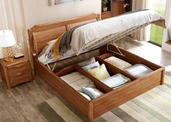 Giường thông minh gỗ công nghiệp có ngăn chứa đồ bên trong giường và hộc kéo bên hông.