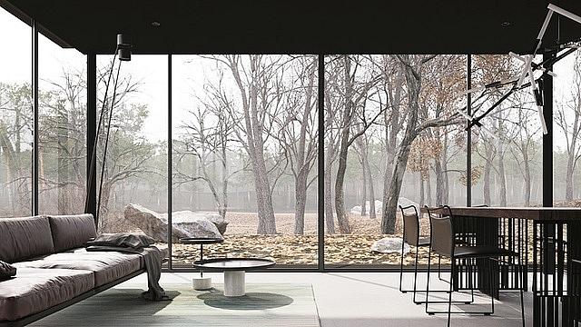 Cấu trúc của căn nhà đơn giản với khung xung quanh và các tường bằng kính giúp hút ánh sáng thiên nhiên bên ngoài vào. Nội thất được tối giản, nên dù nhỏ vẫn không cảm thấy chật chội hay bức bí.