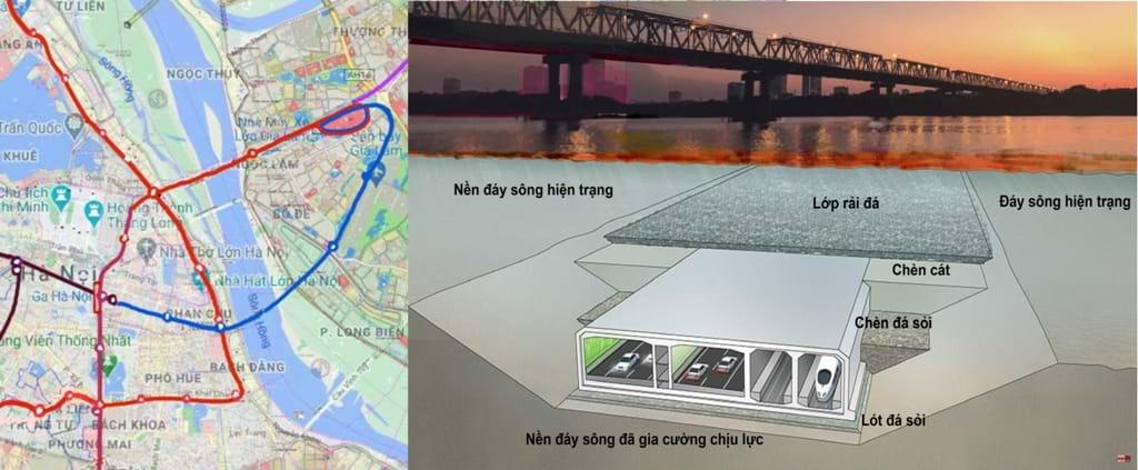 Cầu ngầm Trần Hưng Đạo tích hợp đường sắt đi ngầm nối Ga Hà Nội – Ga Gia Lâm (City Solution đề xuất)
