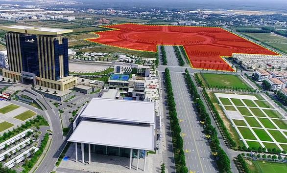 Vị trí màu đỏ là nơi Bình Dương xây dựng trung tâm thương mại thế giới