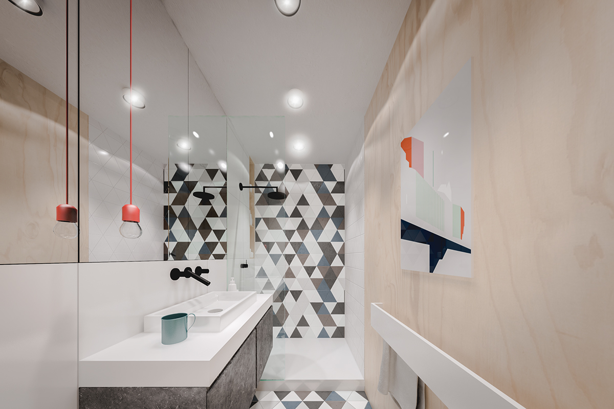 Phòng tắm có cách tiếp cận hoàn toàn khác với phần còn lại của căn hộ