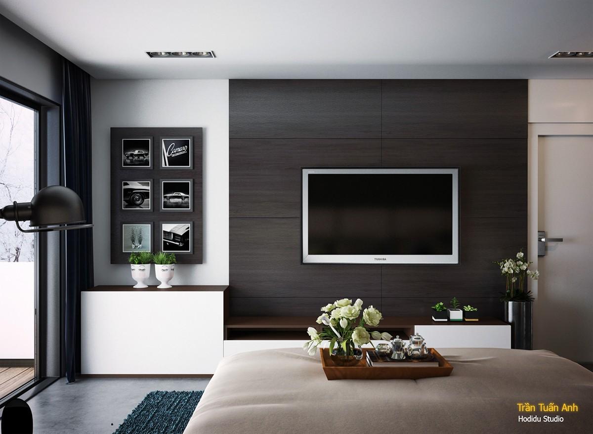 Hình chữ nhật và độ tương phản xác định chủ đề thiết kế nội thất tổng thể