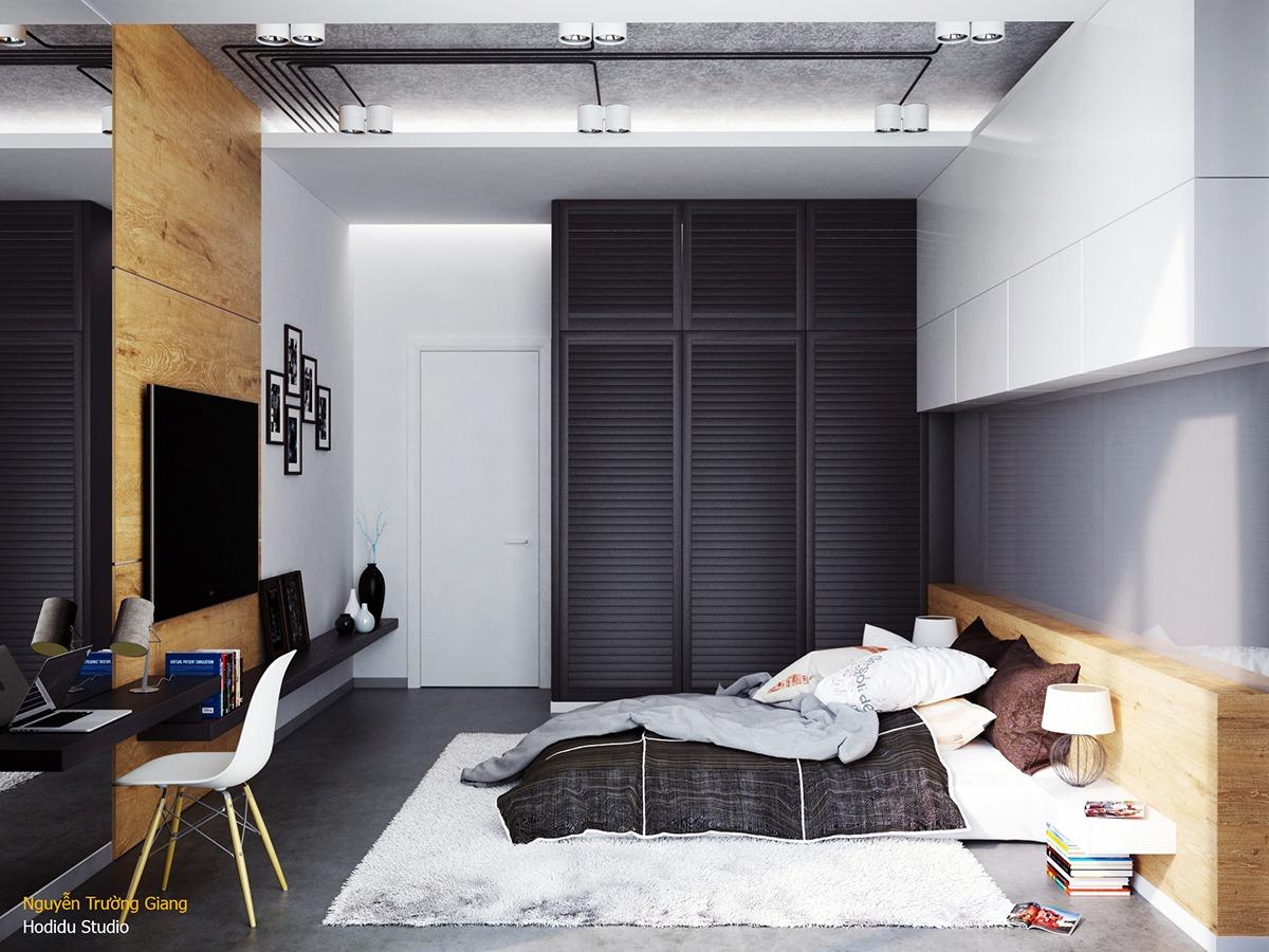 Sơn sa tanh đen làm nổi bật kết cấu của tủ quần áo bằng gỗ