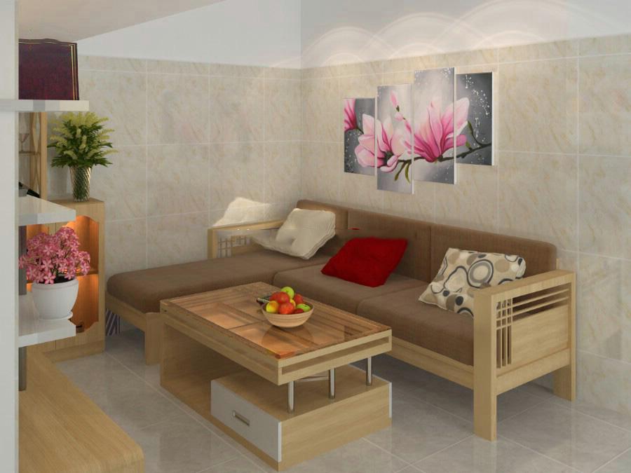 Bộ bàn ghế gỗ phòng khách mini với kiểu dáng đơn giản gồm một ghế băng dài kết hợp với đệm mút thích hợp cho thiết kế phòng khách nhà ống, phòng khách chung cư hiện đại…