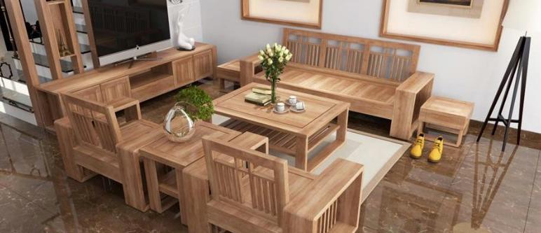 Mẫu bàn ghế gỗ phòng khách nhỏ xinh với màu sắc trang nhã tạo điểm nhấn cho không gian phòng khách.