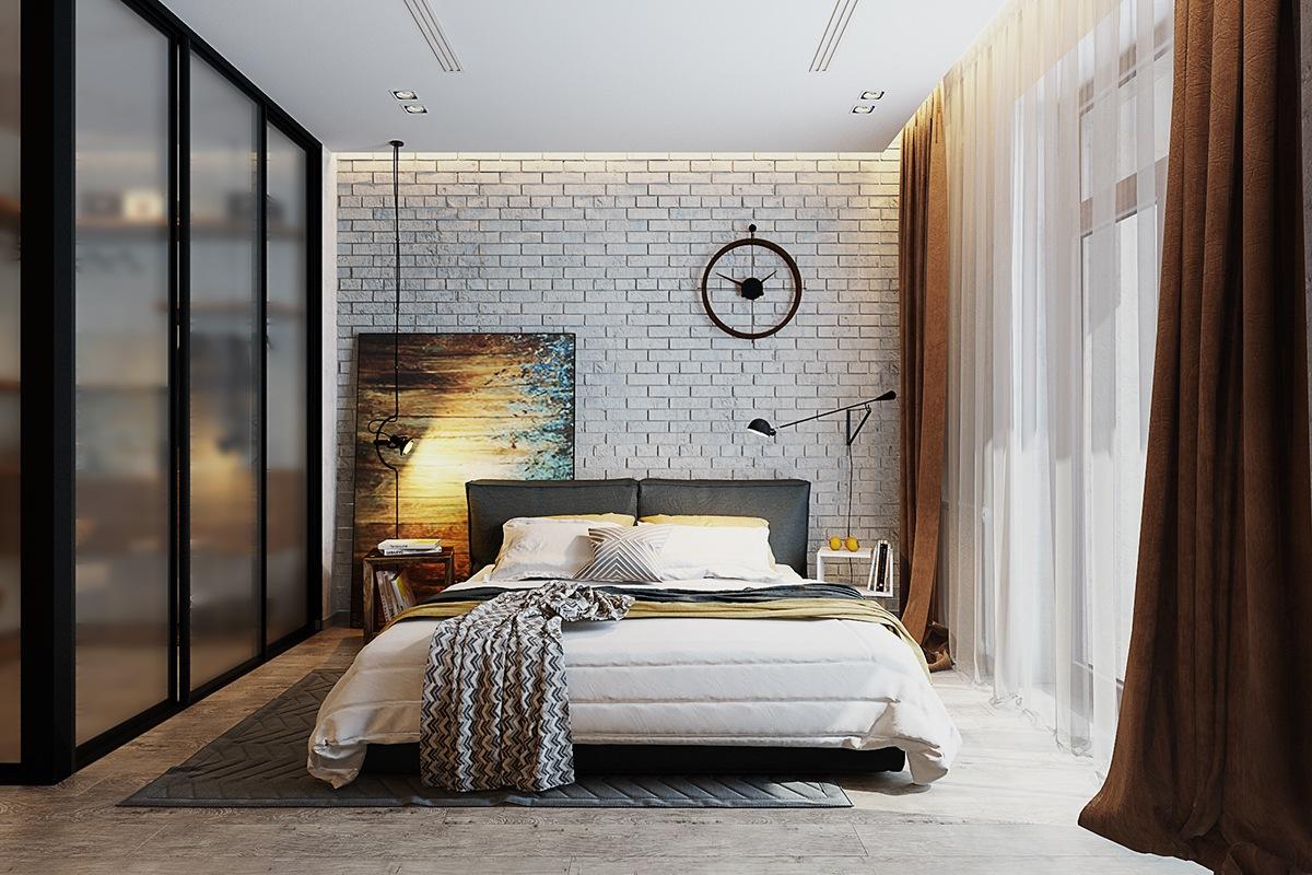Căn phòng  với những người thích phong cách trang trí cổ điển. Bức tường gạch được sơn màu trắng nhưng vẫn giữ được nhiều họa tiết đặc trưng. Bức tranh bên trái đóng vai trò như một loại đầu giường ngụ ý. Nhìn tổng thể bao hàm một cá tính chắc chắn, sang trọng và trang nhã.