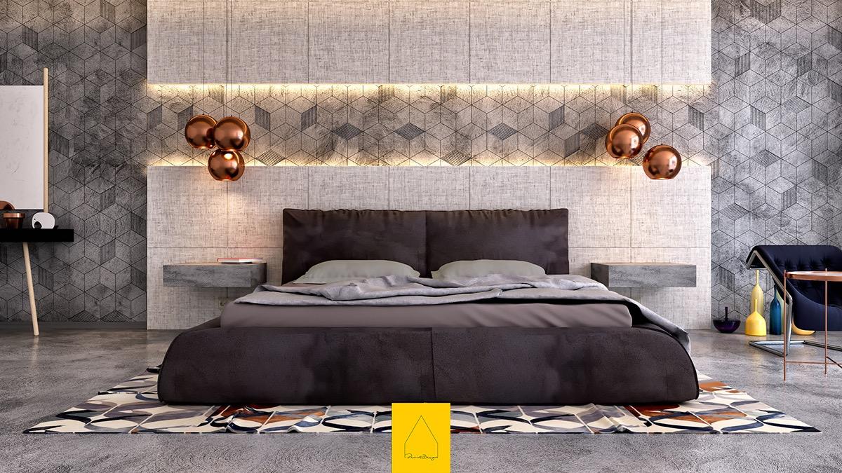 Phòng ngủ này tạo ra tác động trực quan ngay lập tức với bê tông kết cấu thô theo mô hình hình học sắc nét, với các tấm đầu giường quá khổ ở trên và dưới. Đèn mặt dây chuyền độc đáo của Tom Dixon lơ lửng phía trên bàn đầu giường công xôn (cũng bằng bê tông) và một tấm thảm có hoa văn sáng tạo năng lượng cho bảng màu.
