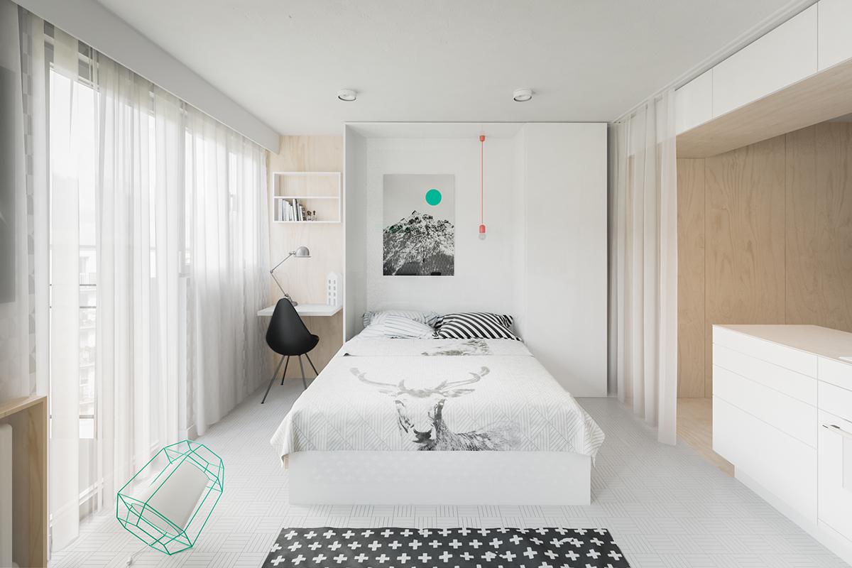 Thật khéo léo khi sử dụng chiếc giường kéo cổ điển - ánh sáng mặt dây chuyền ẩn là một nét thú vị mang đến sự tương phản nổi bật với các điểm nhấn màu xanh mòng két được tìm thấy trong toàn bộ căn phòng