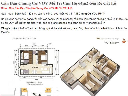 Một căn hộ chung cư rao bán cắt lỗ 140 triệu đồng từ trước Tết Nguyên đán đến nay...