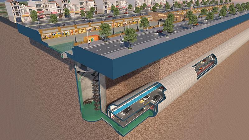 Mô hình, toàn cảnh hệ thống cống, cao tốc ngầm dọc sông Tô Lịch. (Ảnh do JVE cung cấp)