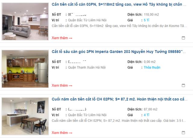 Trên nhiều trang giao dịch bất động sản trực tuyến đều có những rao bán cắt lỗ căn hộ chung cư như thế này