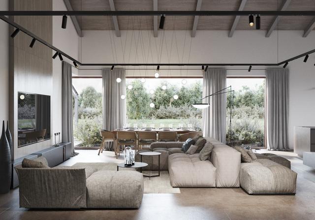 Ngôi nhà sử dụng ánh sáng tràn vào qua cửa sổ lớn, tạo không gian cảm giác thoáng đãng và rộng mở. Bàn ăn được đặt ngay cửa sổ, giúp thuận lợi ăn uống ngoài trời và cả trong nhà.