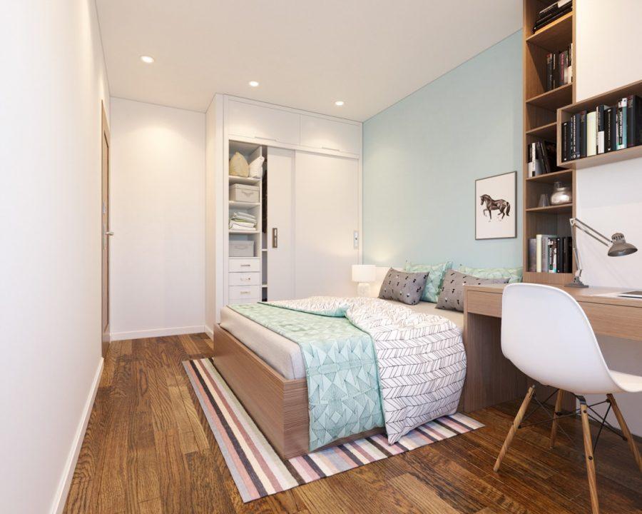Bàn phòng ngủ với thiết kế liền giá sách, kệ treo tường thông minh giúp tiết kiệm tối đa diện tích không gian phòng ngủ. Đây là giải phát thiết kế nội thất thông minh dành cho phòng ngủ nhỏ được ưa chuộng nhất.