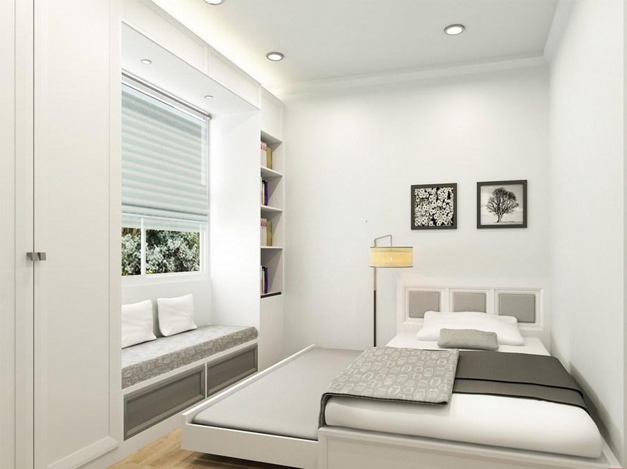 """Mẫu thiết kế nội thất phòng ngủ nhỏ """"nhưng có võ"""" với thiết kế sofa giường ngủ vô cùng hiện đại. Với cách bố trí khoa học, sử dụng nguyên tắc tối giản làm cho không gian phòng ngủ trở nên rộng hơn và thoáng hơn."""