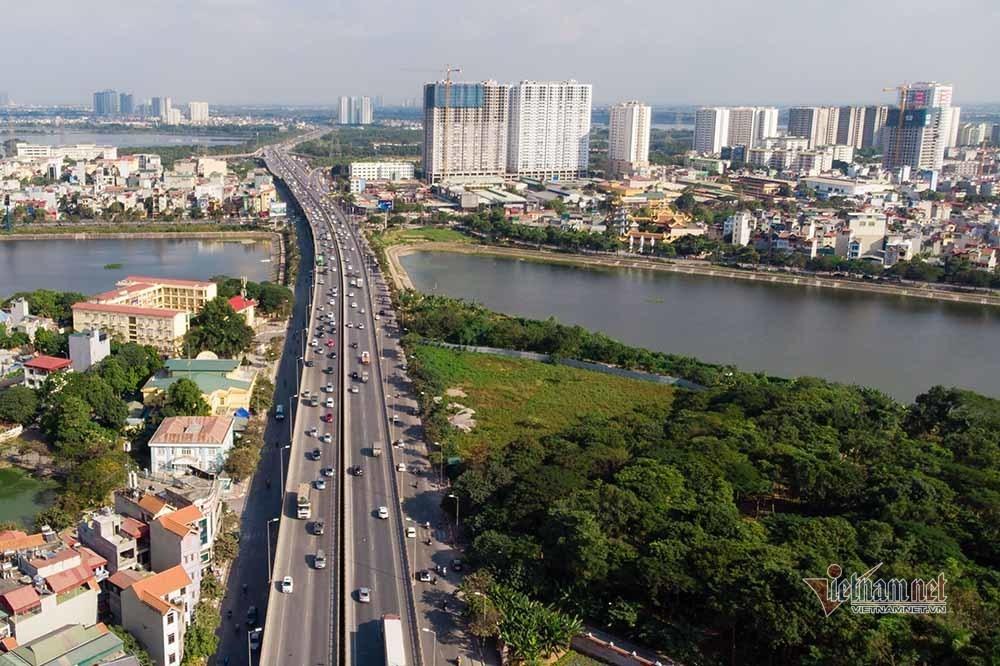 Một ô đất quy hoạch bãi đỗ xe đắp chiếu ở phường Hoàng Liệt, quận Hoàng Mai