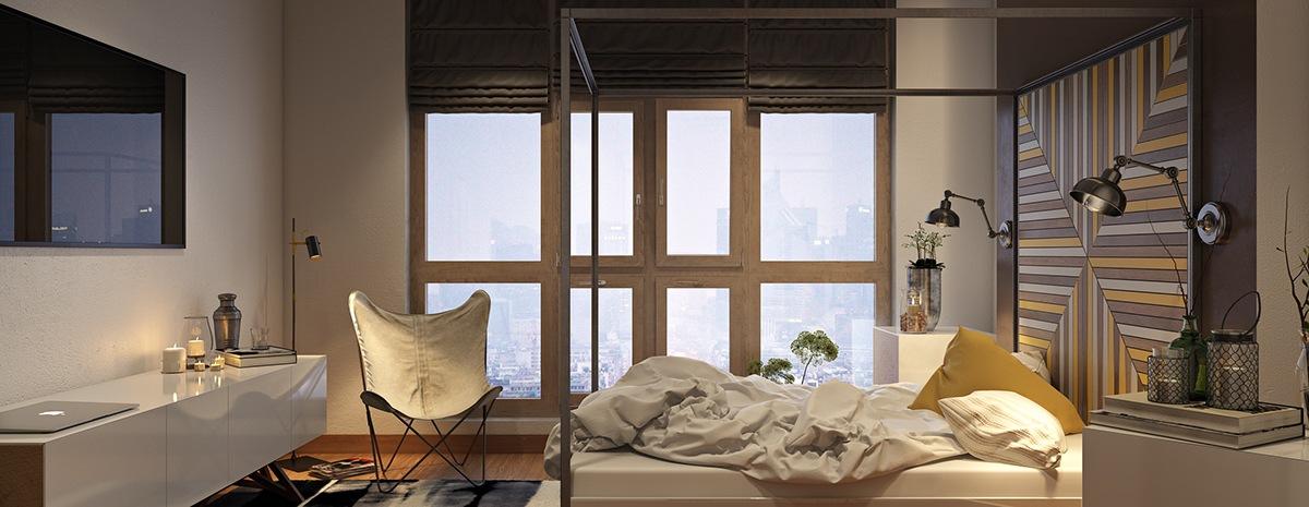 Trong khi đồ nội thất mang lại nét thẩm mỹ đương đại, thì lối trang trí nghiêng về sự pha trộn giữa chủ nghĩa công nghiệp đô thị và sự mộc mạc hiện đại. Đèn ngủ công nghiệp và hộp đựng bằng thép có ảnh hưởng rất lớn đến thái độ tổng thể của căn phòng. Các ghế phòng ngủ mà bạn nhìn thấy ở đây là cái ghế bướm sling.