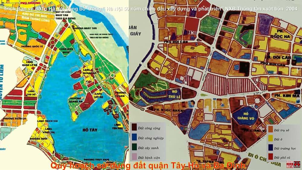 Quy hoạch sử dụng đất quận Ba Đình và Tây Hồ (đến năm 2020) thành phố Hà Nội công bố 2004