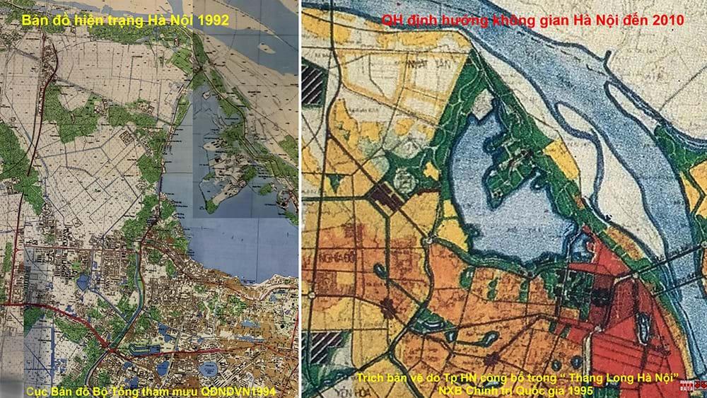 Bản đồ hiện trạng 1992 và Sơ đồ định hướng phát triển  không gian đến năm 2010
