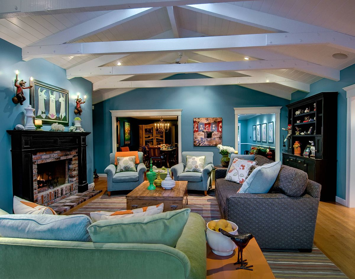 Các sắc thái khác nhau của mòng két tạo ấn tượng cho phòng khách hiện đại rộng rãi