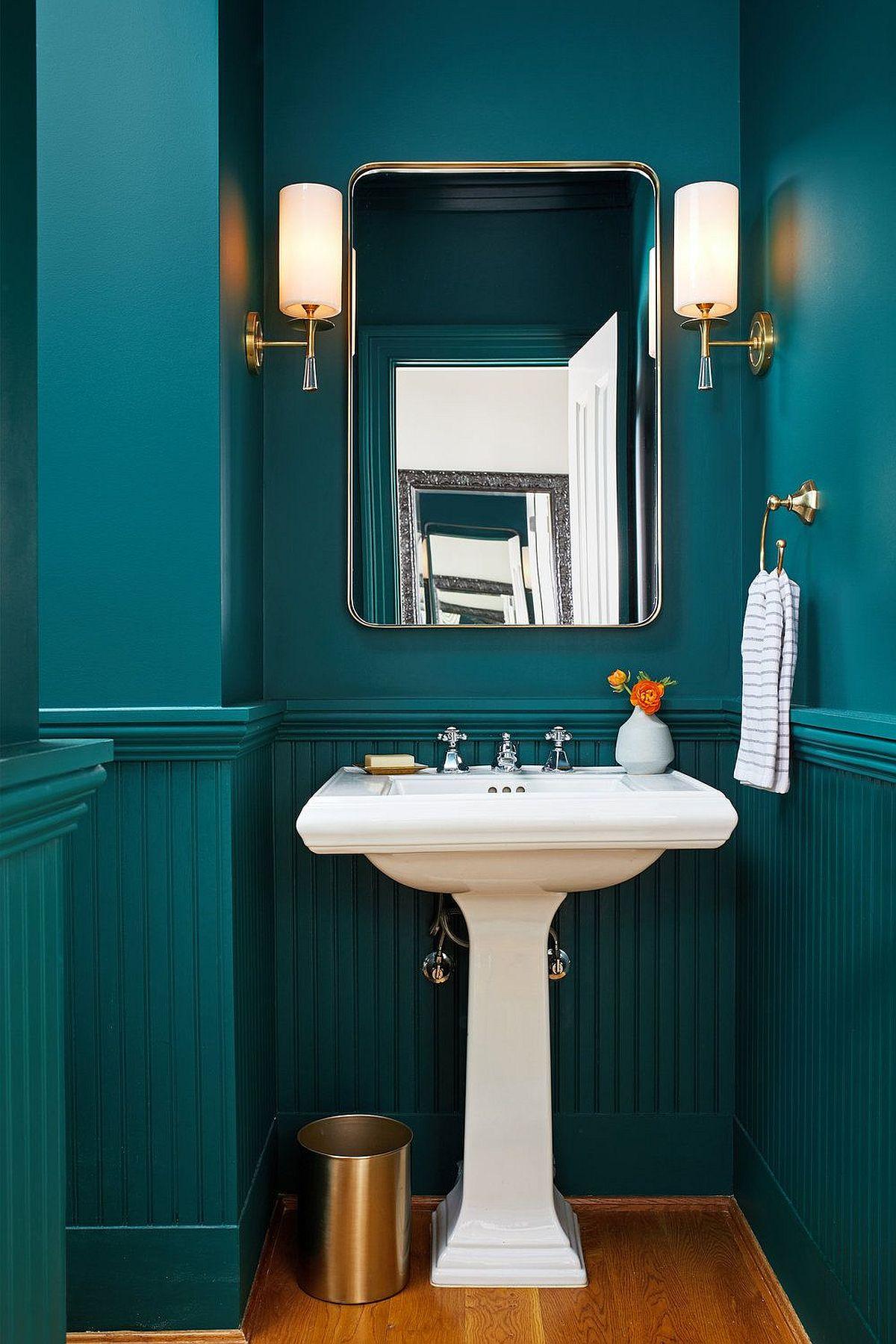 Phòng tắm màu xanh mòng két hiện đại tuyệt đẹp tạo cảm giác hoàn hảo như bức tranh