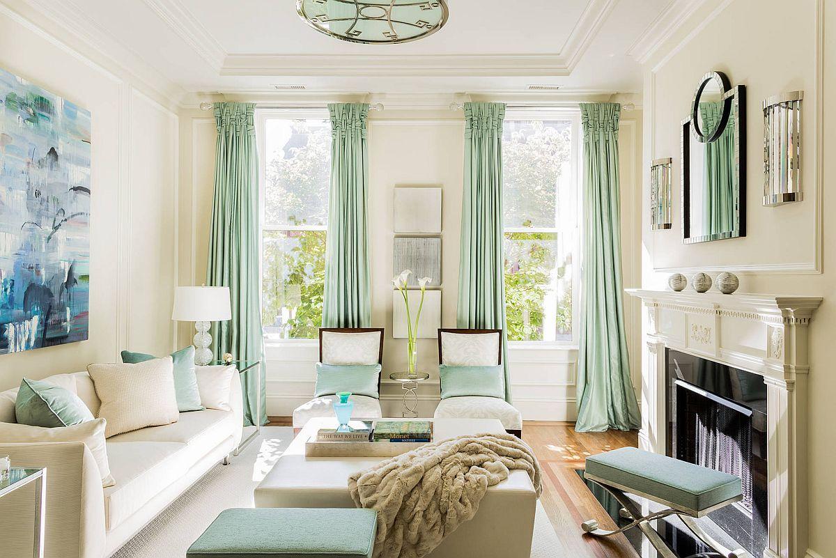 Rèm màu xanh bạc hà mang đến không gian sống hiện đại tươi vui cho mùa xuân và mùa hè