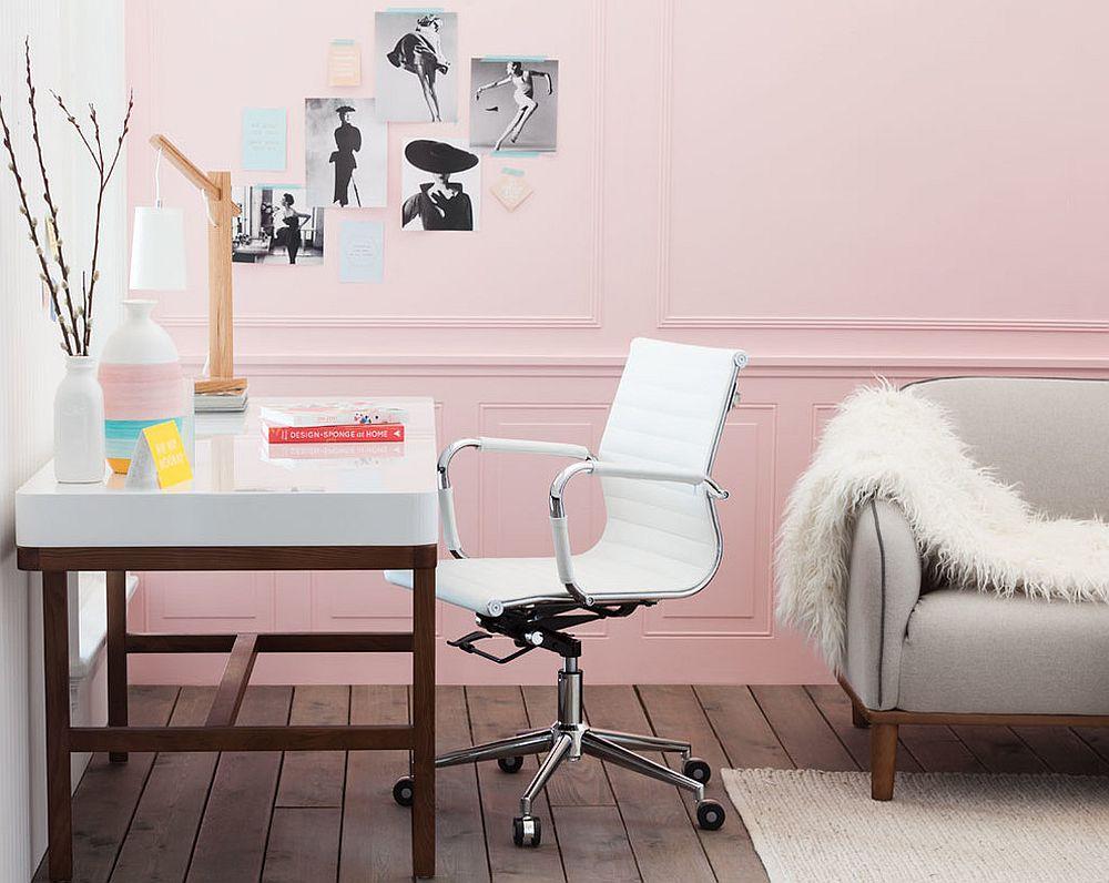 Góc làm việc mang phong cách Scandinavian hiện đại được đánh bóng với màu hồng phấn ấm áp