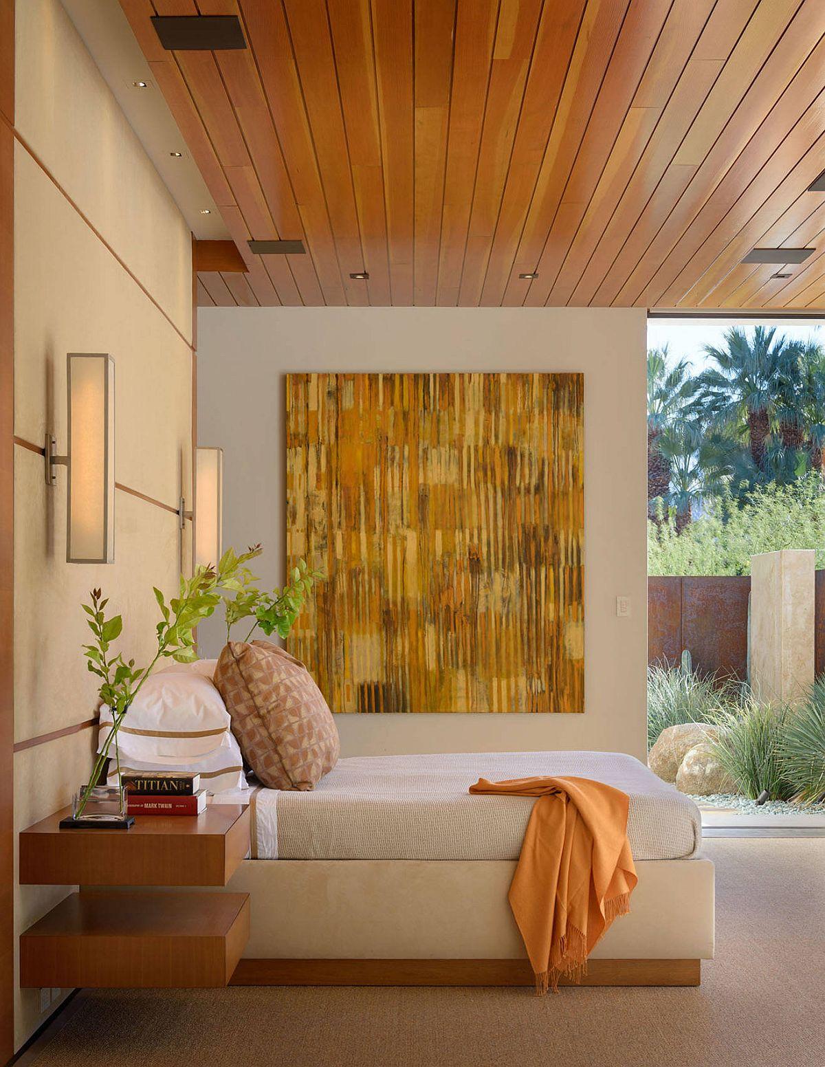 Phòng ngủ thư giãn nơi cây xanh trở thành một phần của nội thất