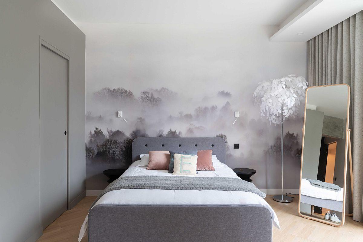 Sử dụng các sắc độ xám khác nhau trong phòng ngủ cùng với những màu sắc nổi bật