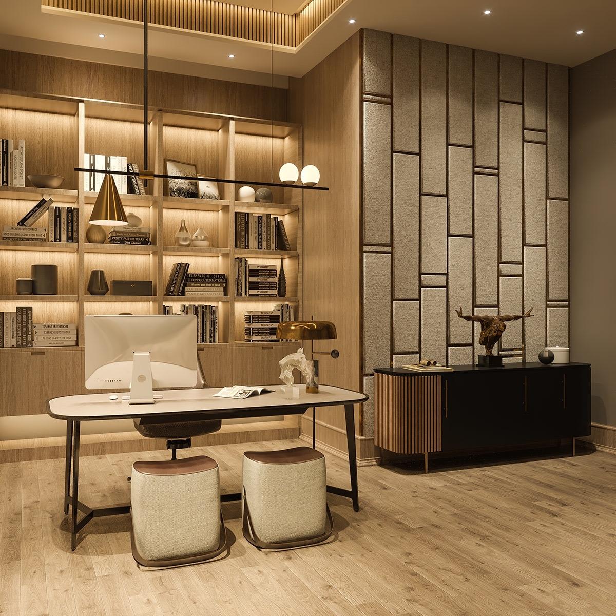 Phòng khách vừa là nơi làm việc vừa là nơi thể hiện cá tính độc đáo của chủ nhân.