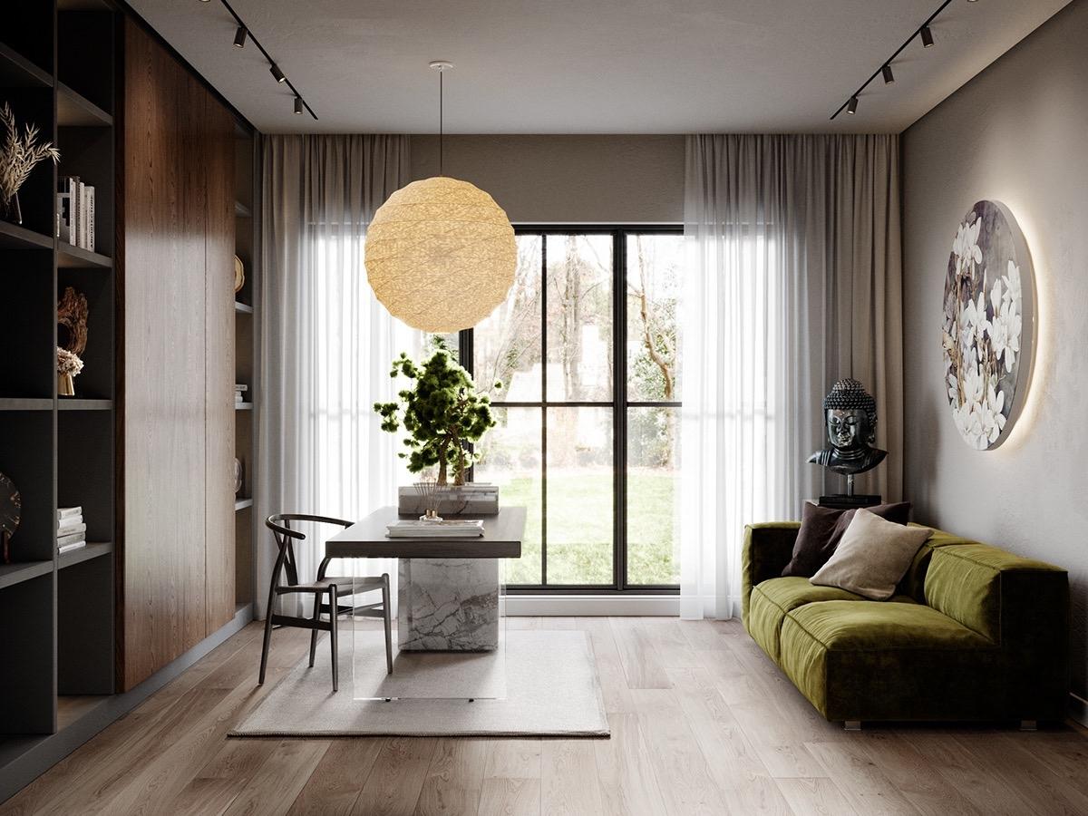 Bạn sẽ tìm thấy rất nhiều cảm hứng cho với kiểu trang trí tối giản, tinh tế và sang trọng trên. Ghế sofa êm ái có thể là nơi nghỉ trưa, tủ sách đơn giản, đặc biệt thiết kế bàn với tấm kính trong suốt là điểm nhấn cho căn phòng.