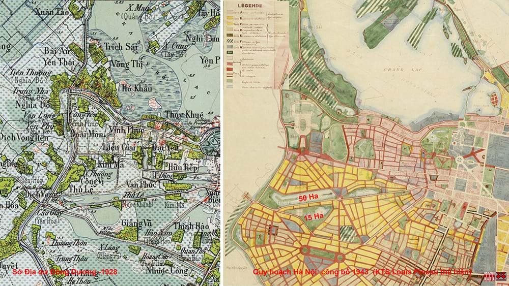 Bản đồ Hà nội 1928 và bản Quy hoạch  Hà Nội công bố năm1943